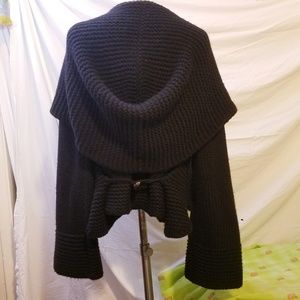 AUTUMN CASHMERE Black Open Front Hooded Cardigan